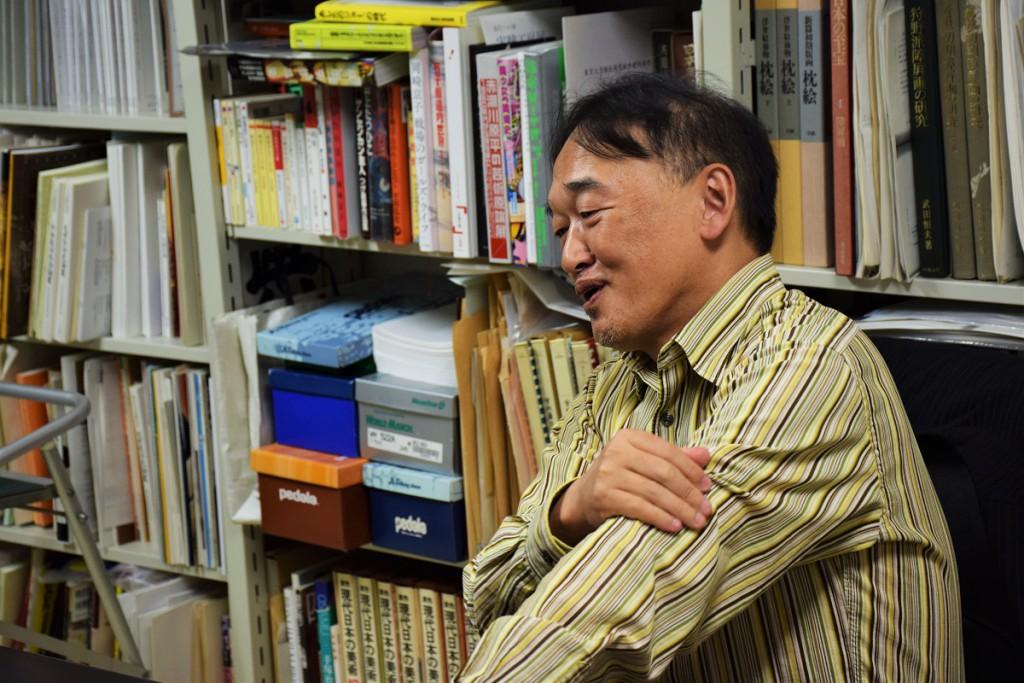 佐藤康宏教授に取材(2015年10月21日) 撮影:おしどりケン